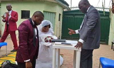 Viral Photos Of Couple Who Got Married In Their Compound During COVID-19 Lockdown In Kaduna Hit The Net