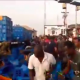 VIDEO: Anambra Agog, Gifts Themselves Drinks After Trailer Conveying Beer Fell Down