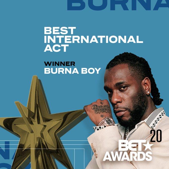 ITS OFFICIAL: #Burna Boy Wins Best International Act At #BETAwards2020 - #BETAwards