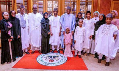 PHOTOS: How President Buhari Observed #EidElKabir Prayers With Family Members Inside Aso Rock Presidential Villa