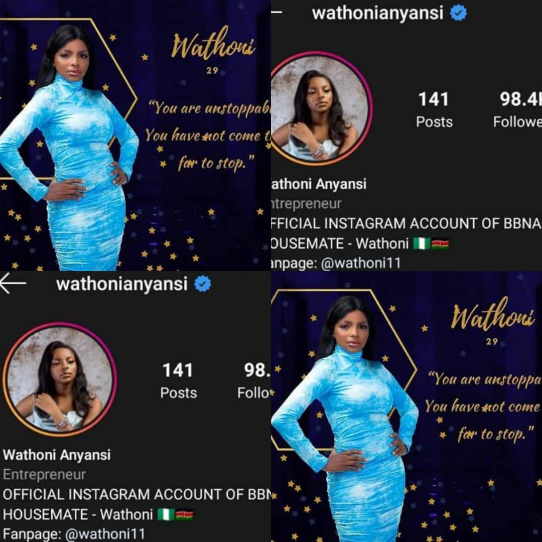 #BBNaijaLocdown2020: Wathoni Becomes 3rd Female Housemate To Be Verified On Instagram