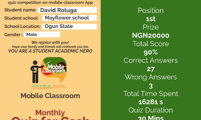 May Flower, Chrisland Students, Others Emerge Winners Of Maiden Edition Of Mobile Classroom Monthly Quiz For Cash Competition