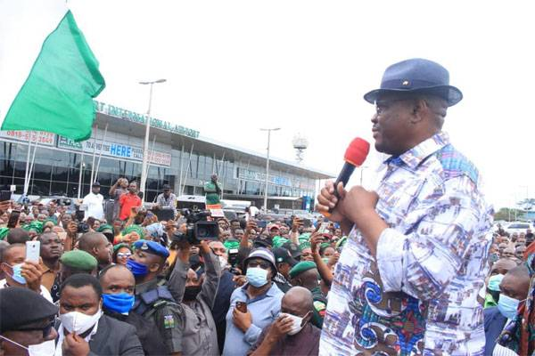 HEROIC WELCOME!!! Gov. Wike Arrives Port Harcourt, Receives Warm Welcome From Crowd - #EdoDecides2020