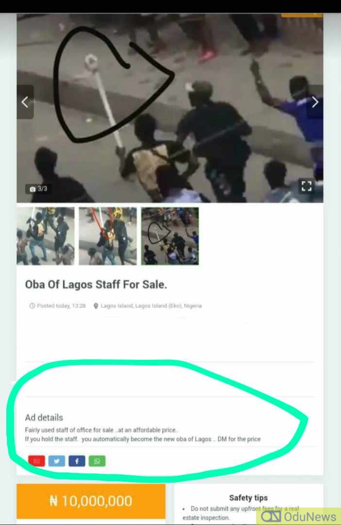 UNBELIEVEABLE: Sacred Staff Of Oba of Lagos Put Up For Sale On Jiji, See Auction Price - #ItIsNotFinished