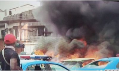 #LagosStateMassacre: Structures And Vehicles Destroyed At FRSC, VIO, LASTMA Offices In Ojodu-Berger [PHOTOS]