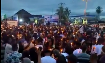 #candlenight: Tears Flows As EndSARS Protesters Light Up Candles In Remembrance Of Victims Of Police Brutality [PHOTOS/VIDEO]