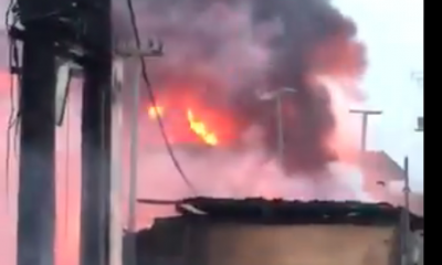 HAPPENING NOW: Pandemonium In Ogba As Petrol Station Catches Fire As Another Building Collapses [VIDEO]