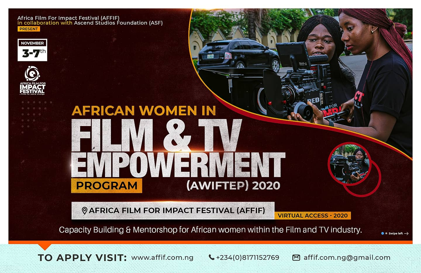 Africa Women In Film And TV Empowerment Program, 'AWIFTEP', Supports AFFIF 2020