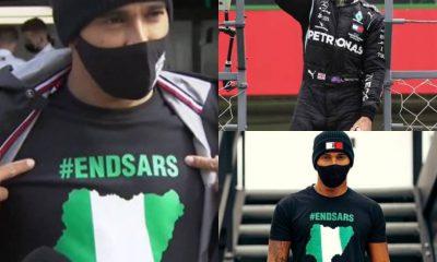 6 Times Formula One World Champion, Hamilton Wears #EndSARS T-Shirt [PHOTOS]