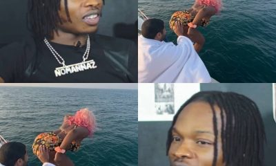 How Naira Marley Reacted As DJ Cuppy Jumps Into Ocean In Dubai
