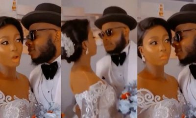 Drama As Bride Warns Groom Not To Spoil Her Makeup As They Kiss [VIDEO]