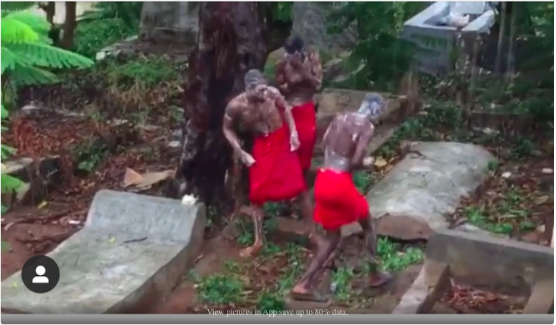 CUT SOAP FOR ME!!! How Nigerians Reacted As Yahoo Boys Were Caught Bathing At A Burial Ground In Viral Video