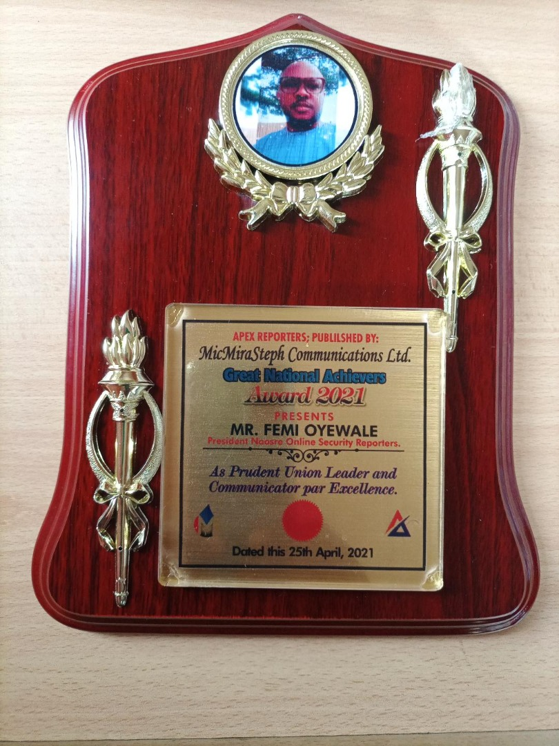 JUST IN: NAOSRE President, Femi Oyewale Bags Leadership Award